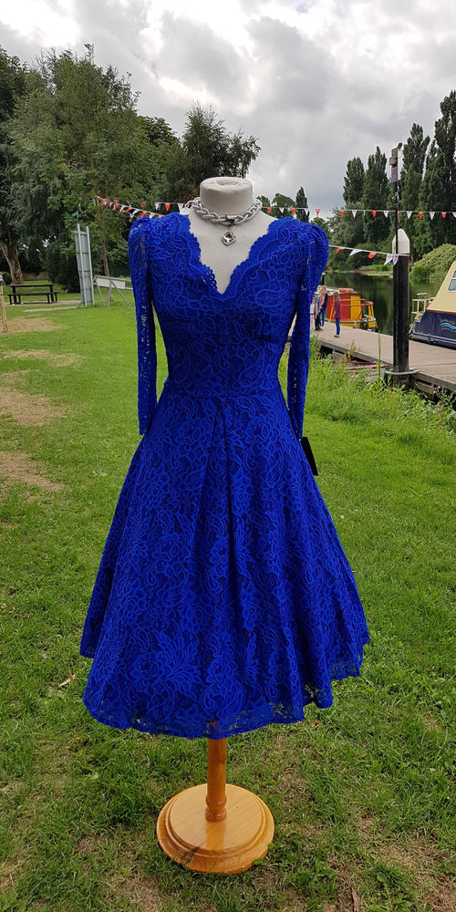 Lace 3/4 Sleeve Swing Dress - Royal Blue