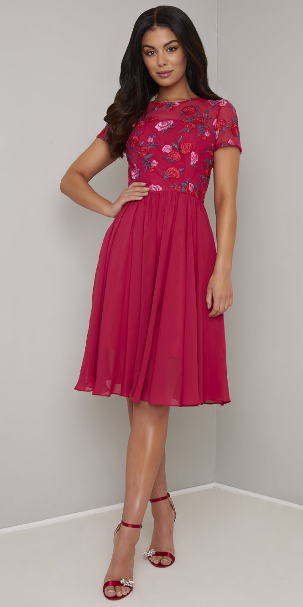 Laray Pink Embroidered Dress