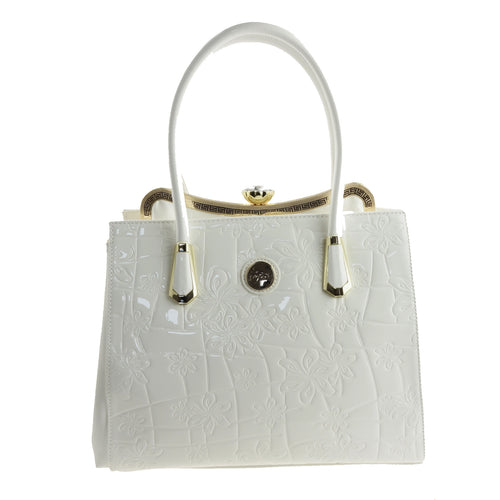 Large White Patent Handbag