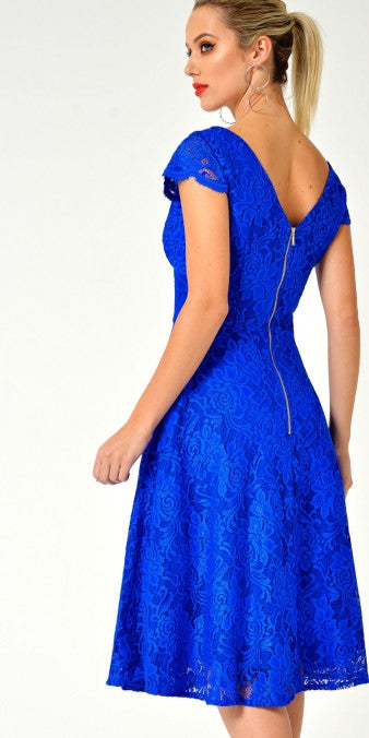 Lace Cap Sleeve Swing Dress - Royal Blue