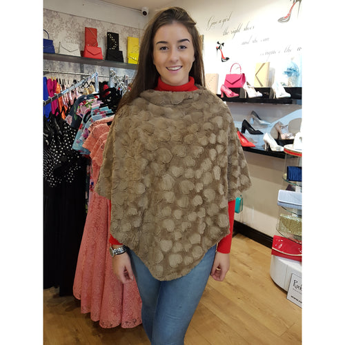 Light Brown Poncho - Soft Faux Fur