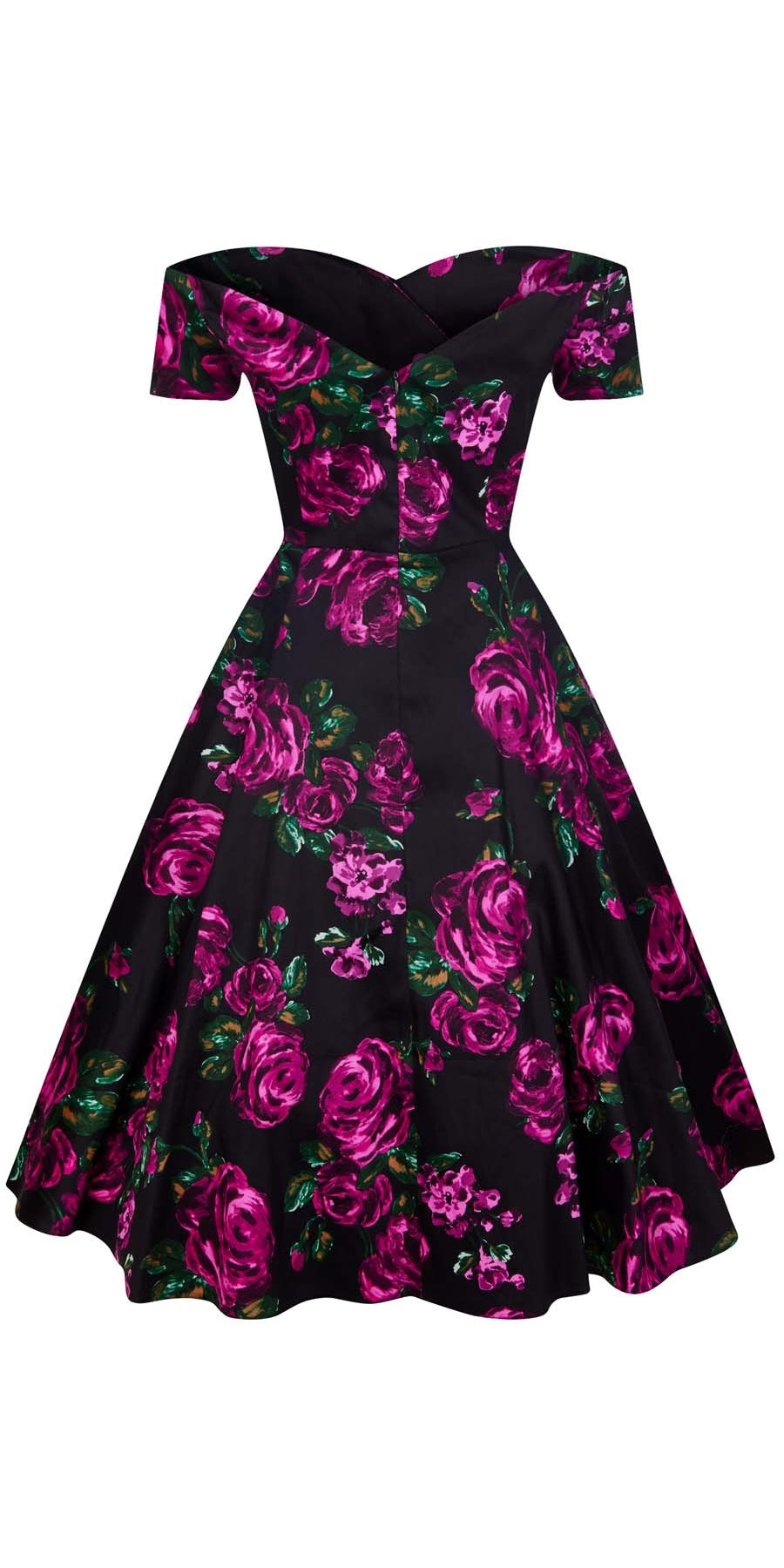 Liliana Violet Rose Bardot Neckline Swing Dress