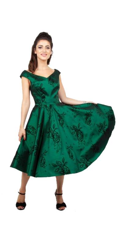 Lily Green Taffeta Swing Dress