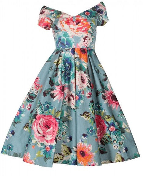 Lily 1950's Evening Dress Blue Floral