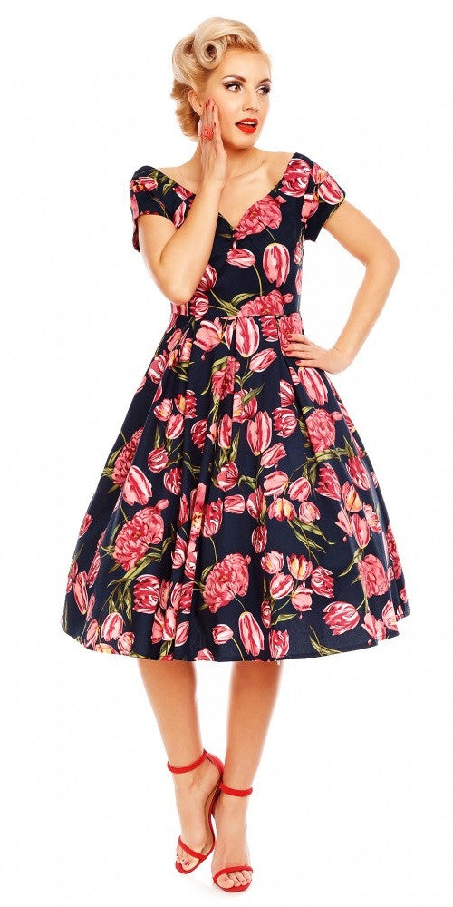 Lily Off Shoulder 1950's Swing Dress - Tulip