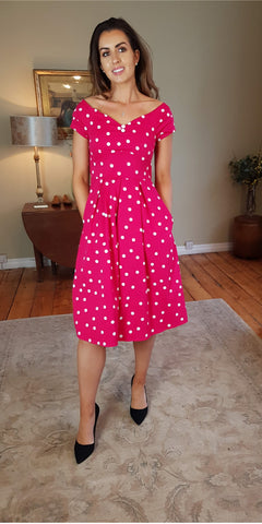 Claudia Flirty 50's Polka Dot Swing Dress - Red/White