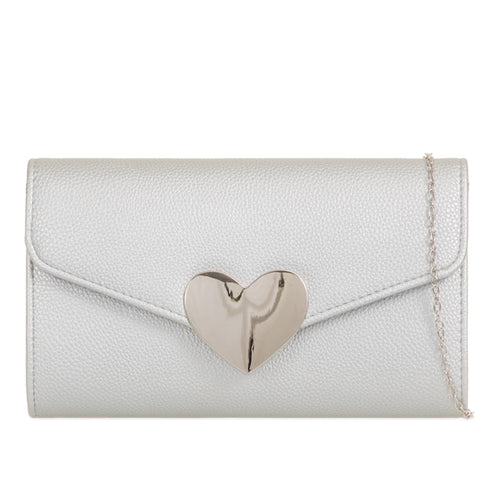 Isabelle Evening Clutch Bag - Silver
