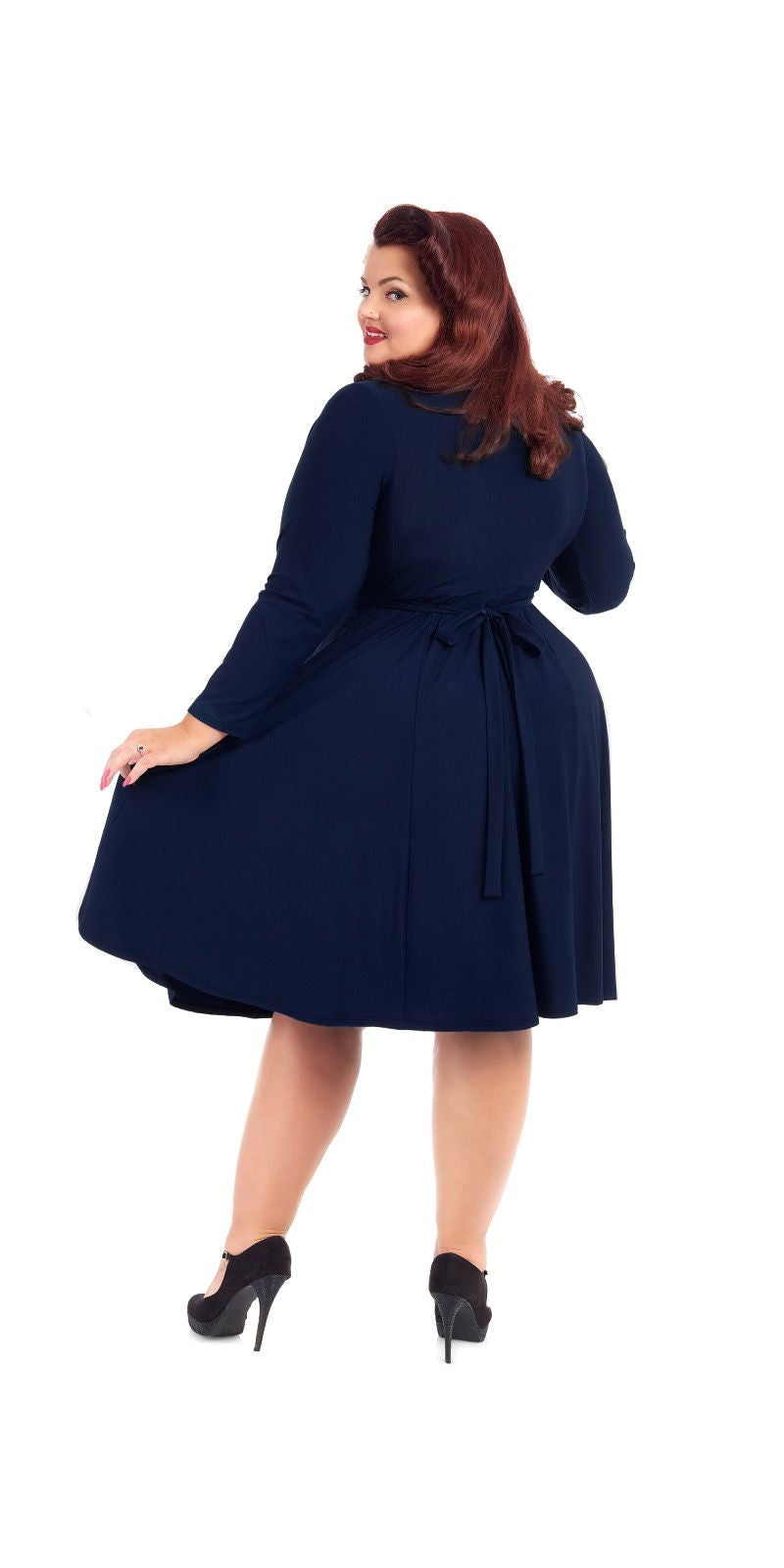 Lyra Navy Dress - Long Sleeve