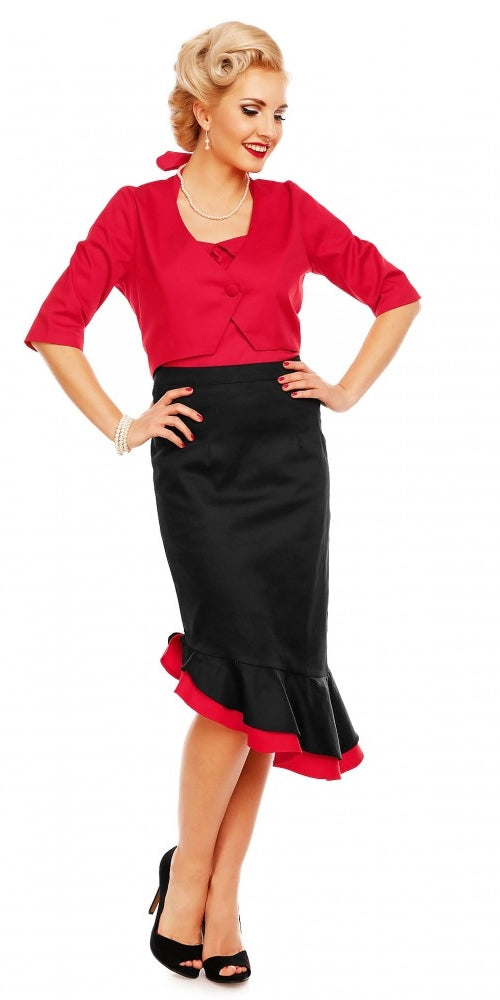 Madison 50's Style Ruffle Skirt - Black/Red