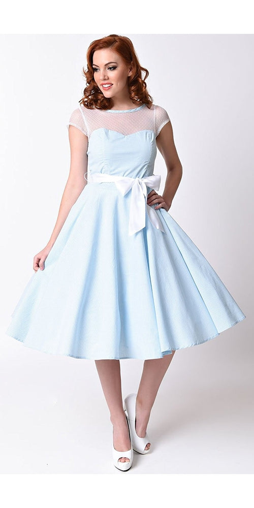 Maisy 50's Sky Blue Gingham Swing Dress