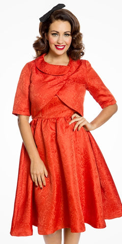 Anne Long Pleated Dress - Red