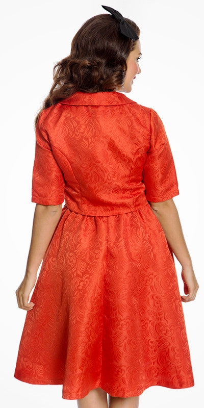 MARCELLA BURNT ORANGE SWING DRESS AND JACKET TWIN SET