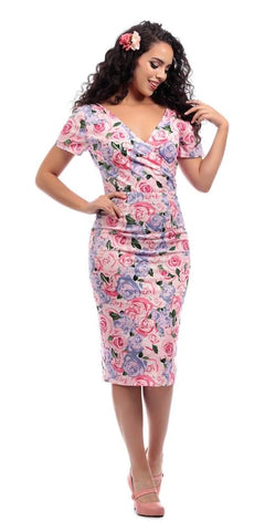 Vivi Lamour Floral Wiggle Dress - Pale Pink