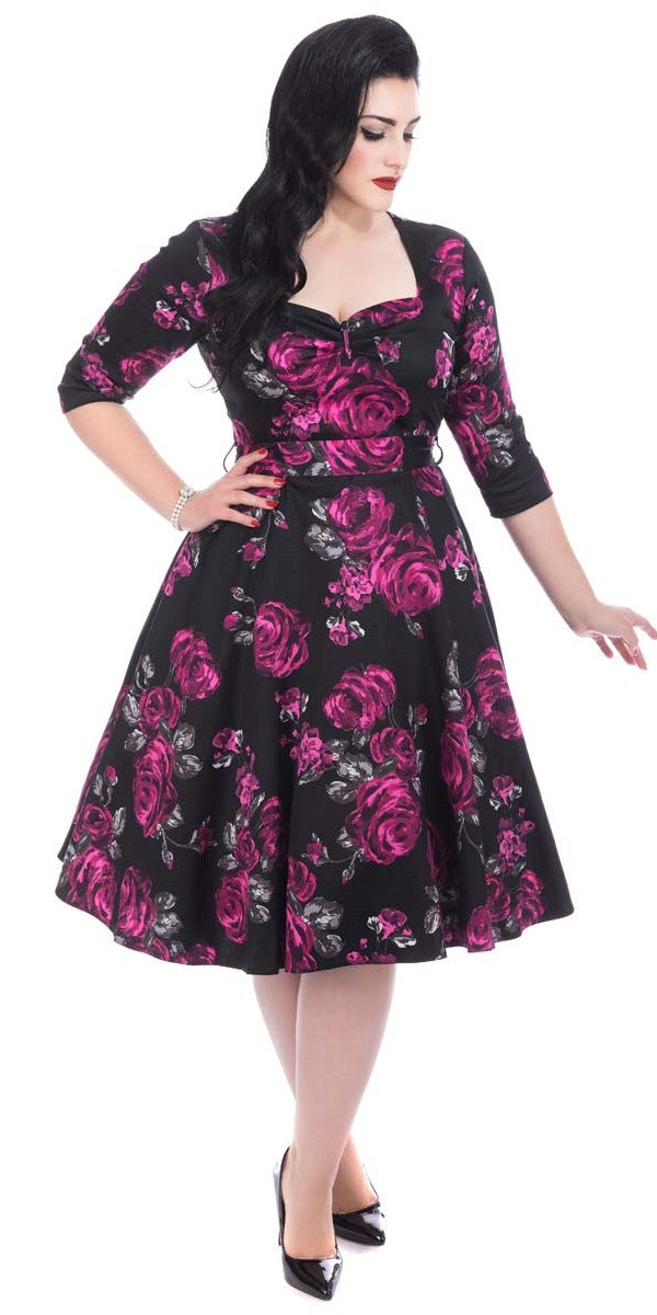 Maria Violet Rose & Grey leaf Swing Dress
