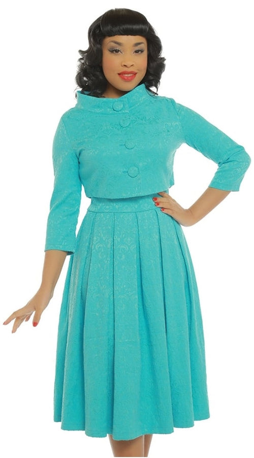 Marianne Teal Swing Dress & Jacket Twin Set