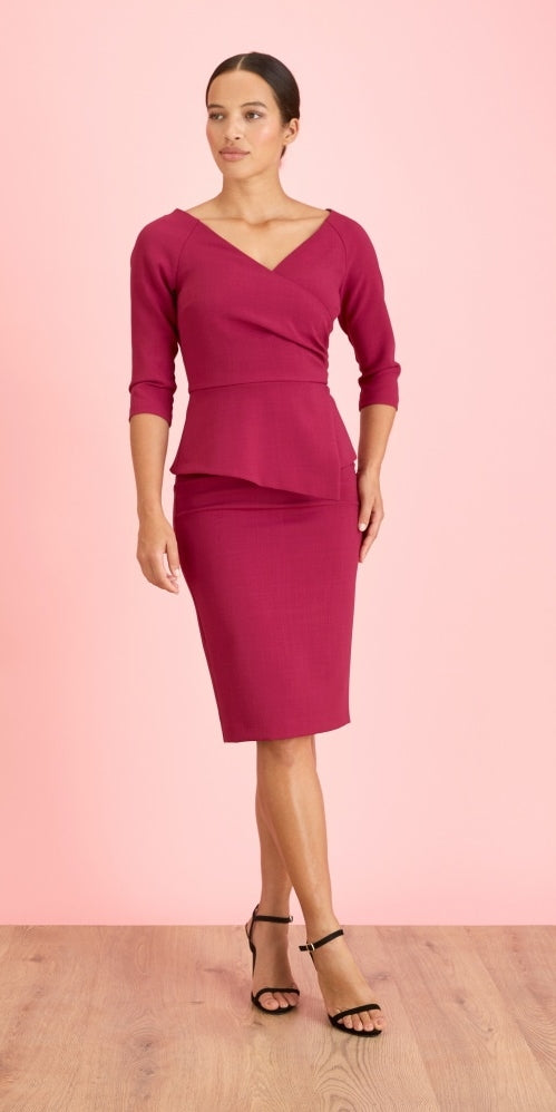 Meghan Hourglass Pencil Dress - Magenta
