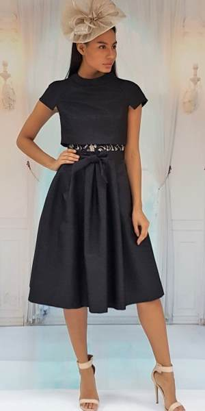 Metallic Black/Gold Skater Dress Split Back