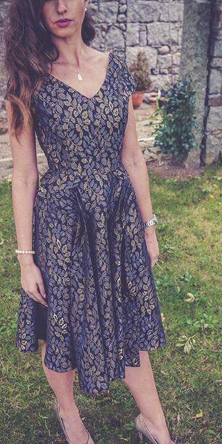 Grey & Gold Metallic Leaf Design Dress