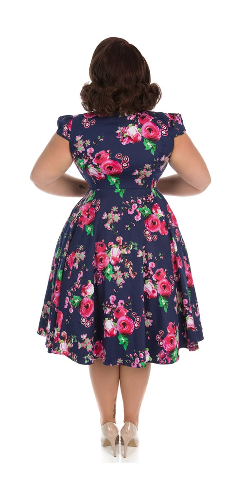 Midnight garden floral tea dress
