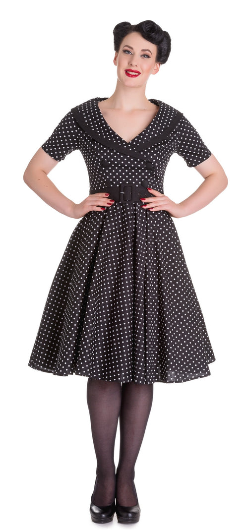 Black & White Polka Dot Mimi Swing Dress