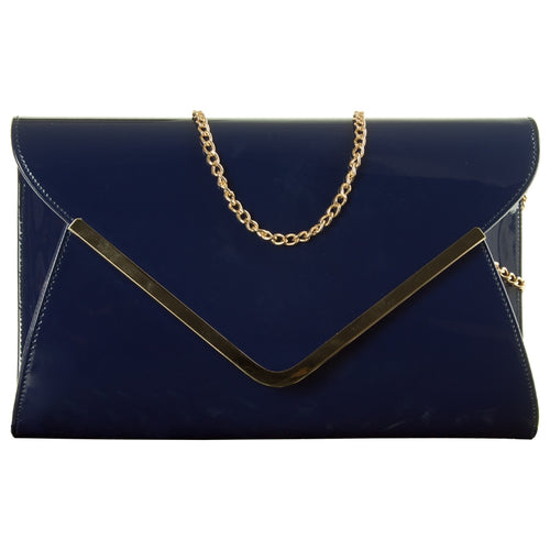 Patent Envelope Clutch Bag - Navy