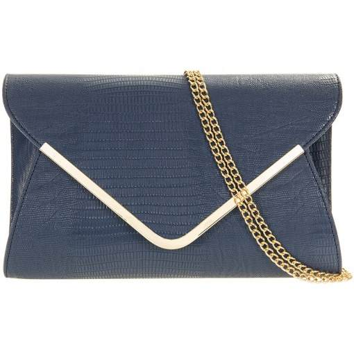 Envelope Clutch Bag (Snake Skin Effect) - Navy