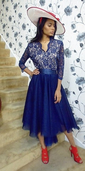 Navy Tulle Dress 3/4 length sleeves