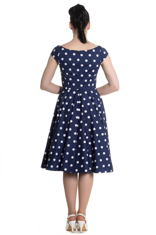 Nicky Polka Dot Swing Dress (Navy & White)