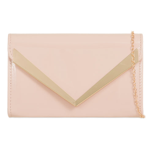 Patent Clutch Bag - Nude