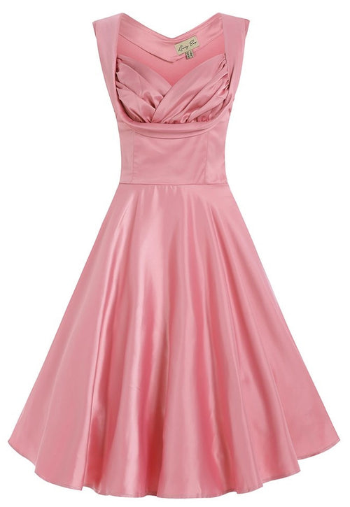 Ophelia Satin Swing Dress Pink Icing