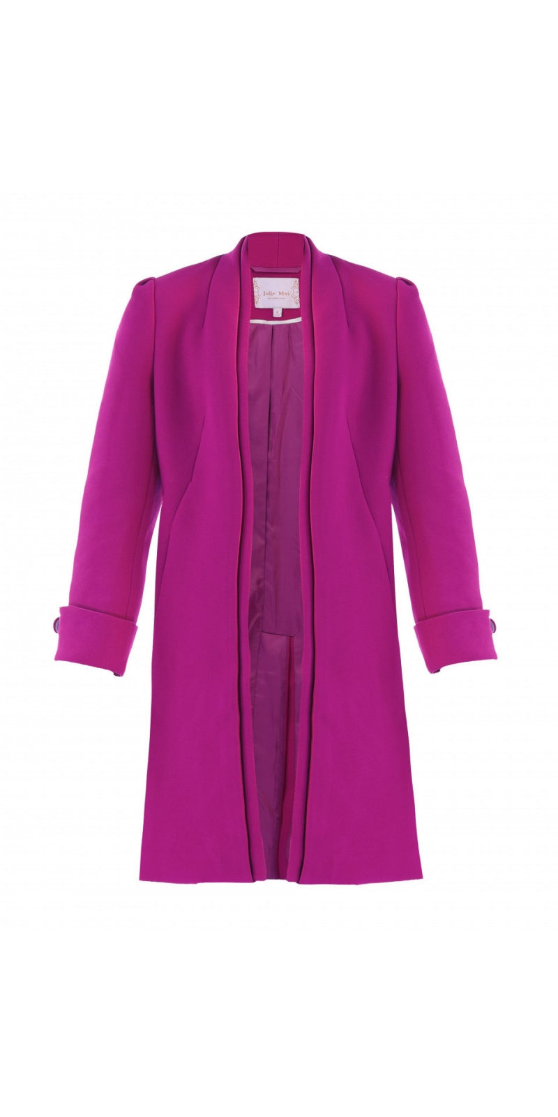 Open Neckline Overcoat - Plum
