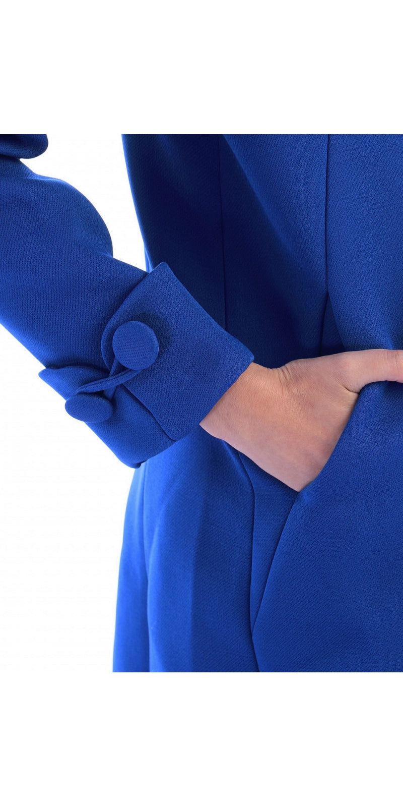Open Neckline Over Coat - Royal Blue
