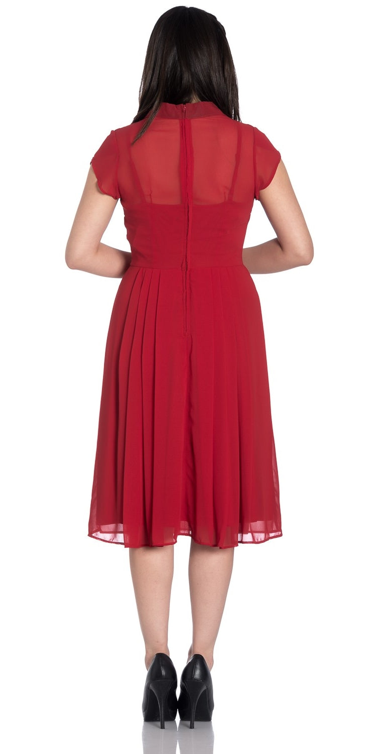 Paige Chiffon 1940s Dress - Red