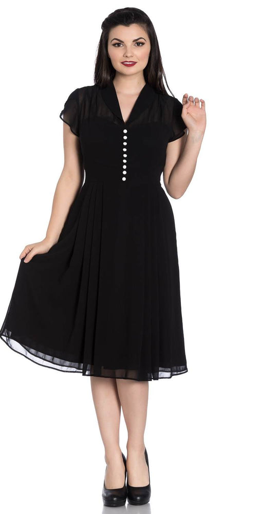 Paige Chiffon 1940's Dress - Black