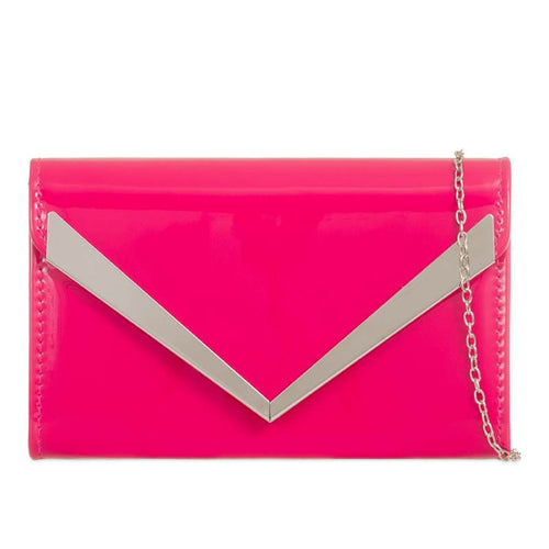 Patent Clutch Bag - Hot Pink
