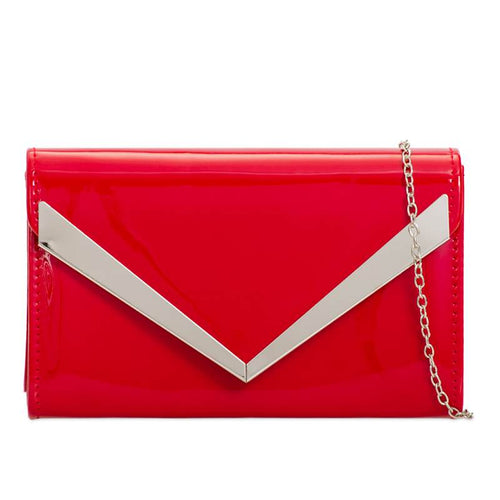 Patent Clutch Bag - Red