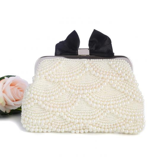 Pearl Evening Clutch Bag with Black Bow