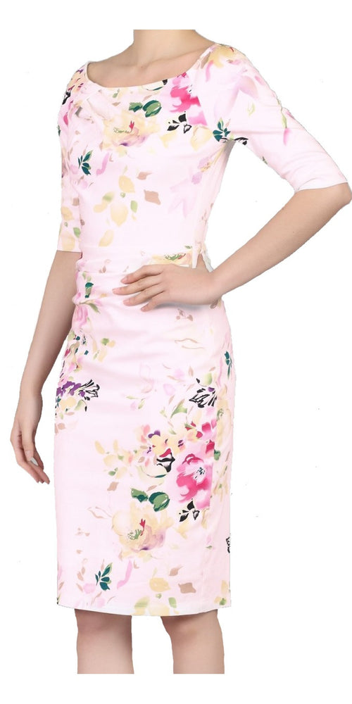 Pink Floral Ruched Wiggle Dress 1/2 Sleeve