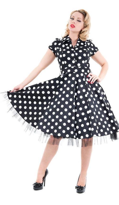 Black and White Large Polka Dot Tea Dress