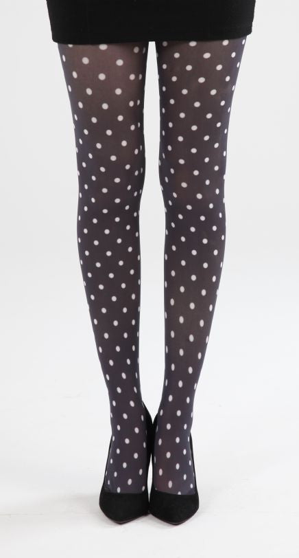 Polka Dot Printed Tights - Black and White
