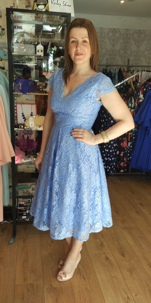 Lace Cap Sleeve Swing Dress - Light Blue