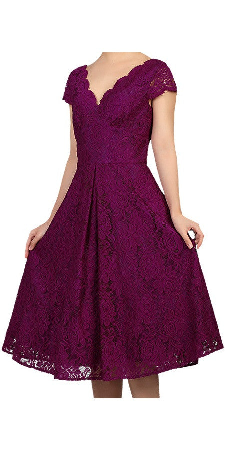 Lace Cap Sleeve Swing Dress - Purple