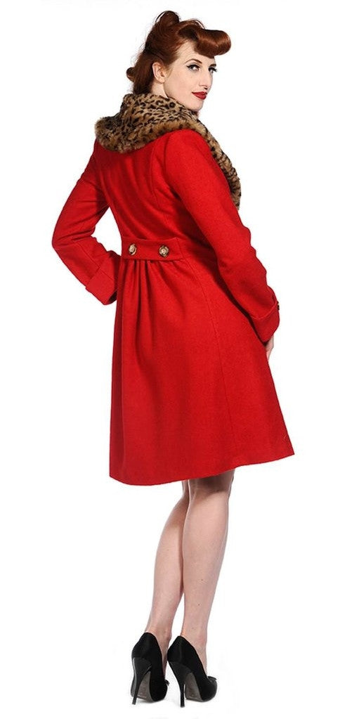 Retro Vintage Coat - Red with removable fur collar