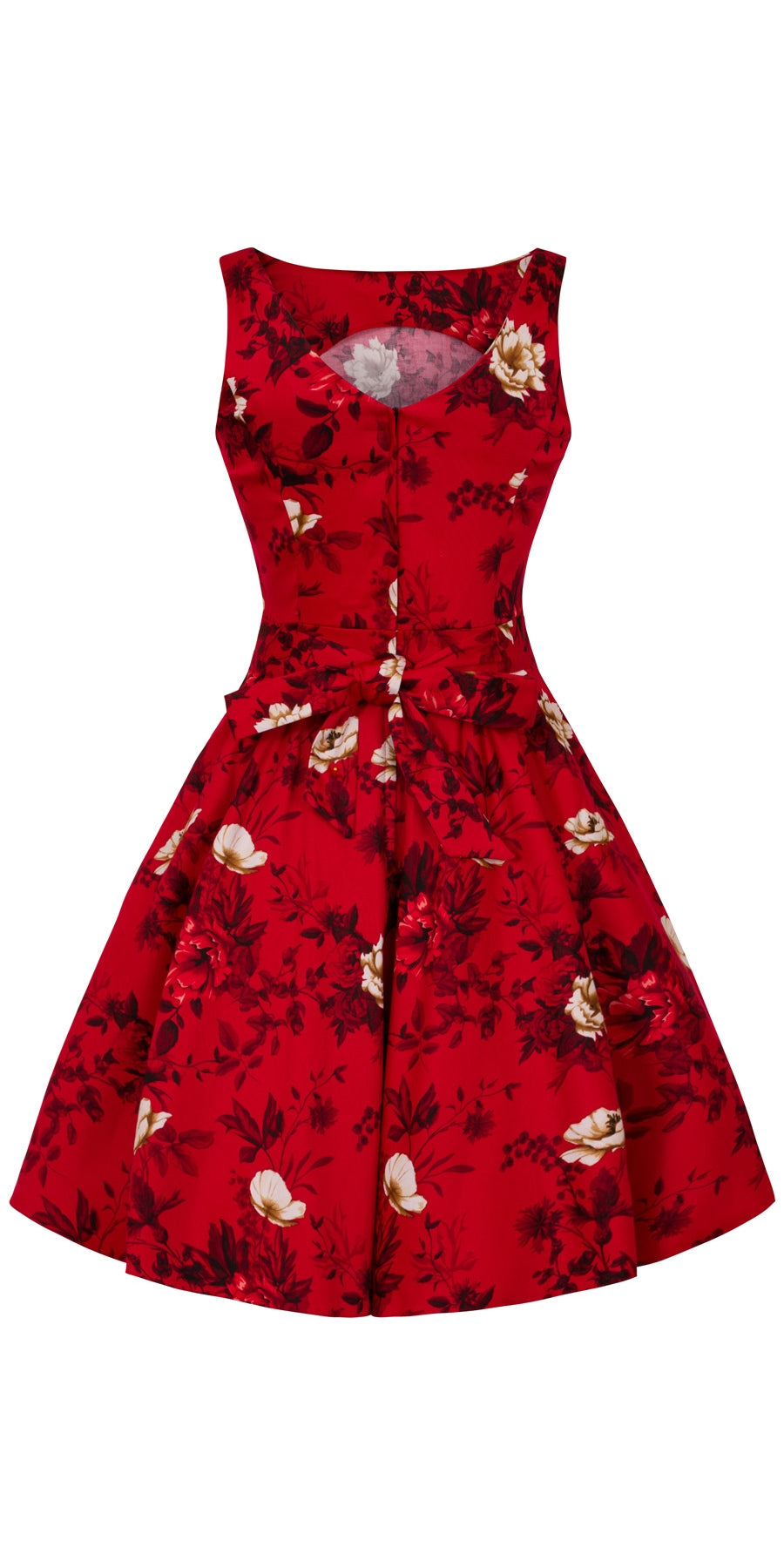 Wild Flowers on Scarlet Tea Dress