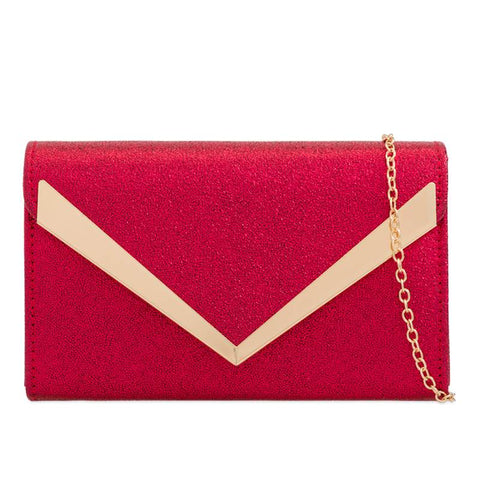 Shauna Floral Embroidered Clutch Bag - Red