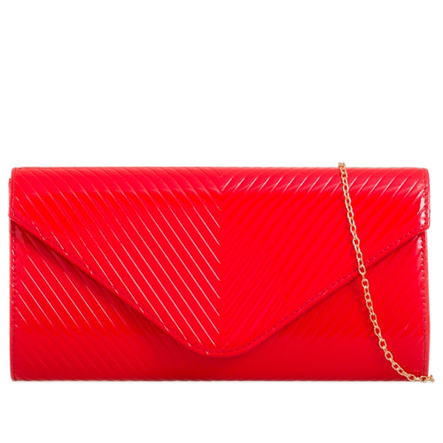 Patent Envelope Clutch Bag Line Design - Red