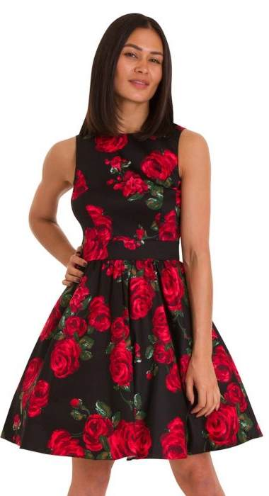 Red Rose & Leaf Tea Dress