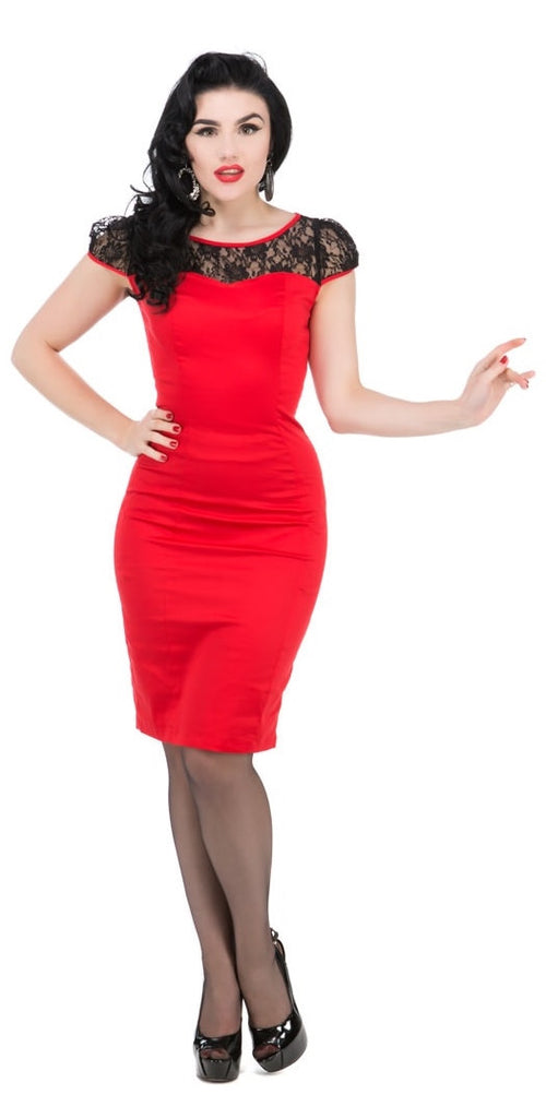 Red Mesh Lace Wiggle Dress