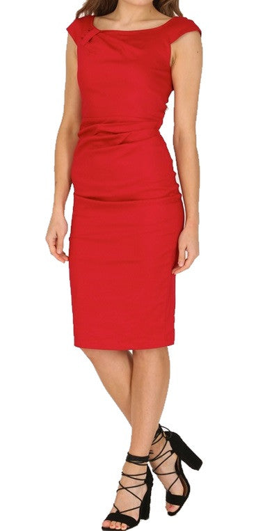Red Ruched Wiggle/Pencil Dress