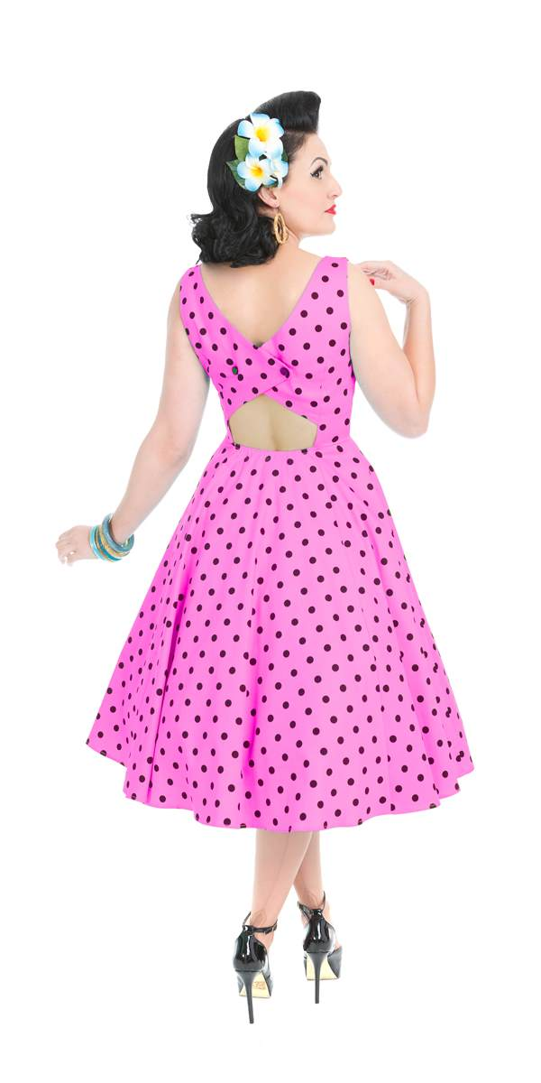 Rhiannon Raspberry Polka Dot Swing Dress